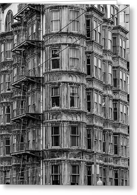 Columbus Tower Black And White Greeting Card