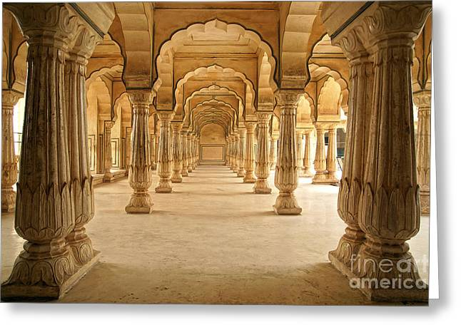Columned Hall Of Amber Fort. Jaipur Greeting Card