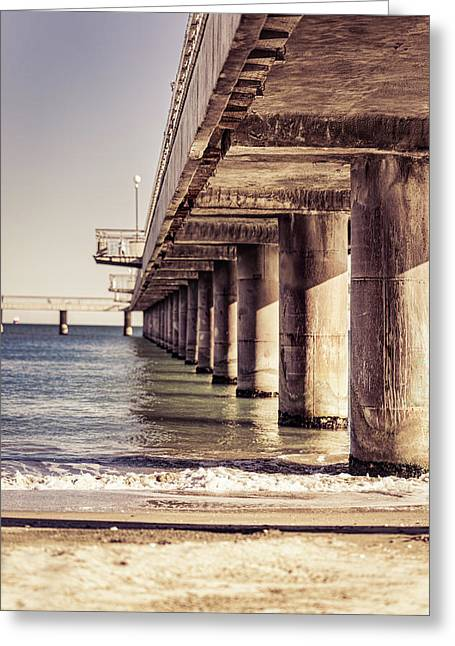 Greeting Card featuring the photograph Columns Of Pier In Burgas by Milan Ljubisavljevic