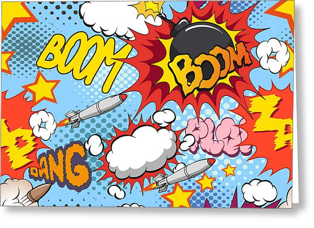 Comic Book Explosion Pattern, Vector Greeting Card