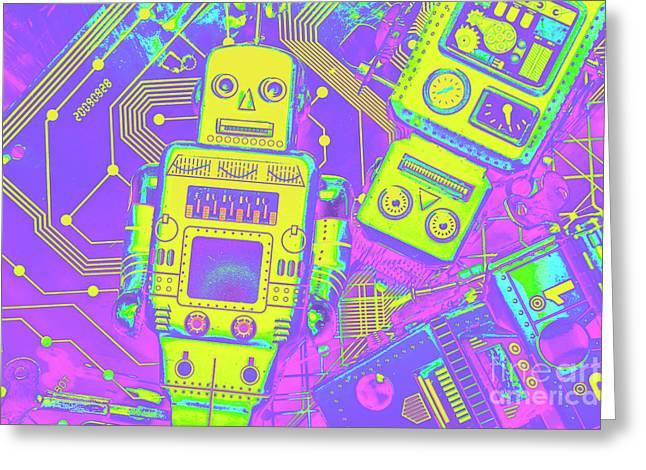 Comic Circuitry Robots Greeting Card