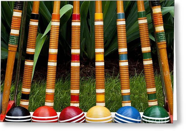 Complete Set Of Croquet Mallets And Greeting Card