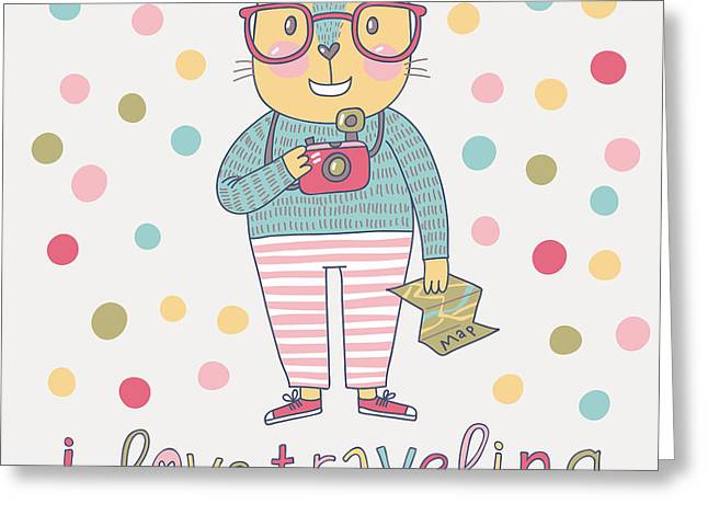 Concept Cat Hipster In Cartoon Funny Greeting Card by Smilewithjul