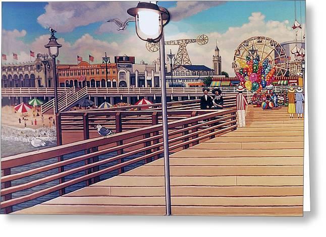 Coney Island Boardwalk Pillow Mural #1 Greeting Card