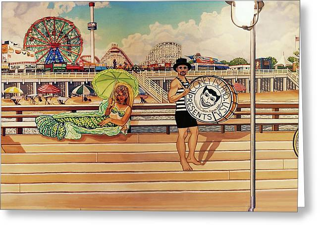 Coney Island Boardwalk Pillow Mural #4 Greeting Card