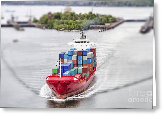 Container Vessel On Kiel Canal, Germany Greeting Card