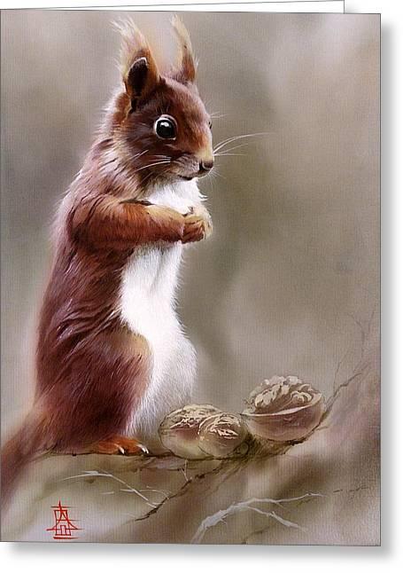 Contemplative Squirrel Greeting Card