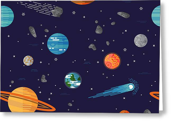 Cool Galaxy Planets And Stars Space Greeting Card