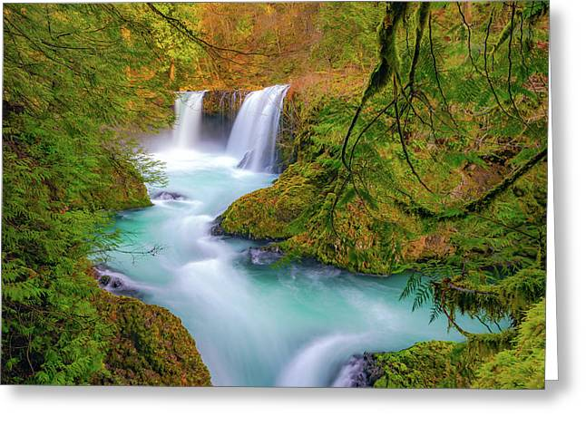 Cool Mountain Water Flows Outward To The Sea Greeting Card