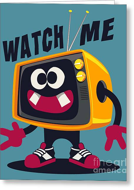 Cool Retro Television Character Vector Greeting Card