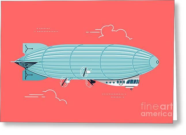 Cool Vector Flat Design Zeppelin Air Greeting Card