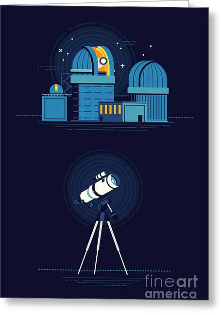 Cool Vector Modern Observatory At Night Greeting Card
