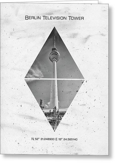 Coordinates Berlin Television Tower Greeting Card