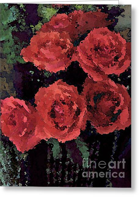 Coral Colored Roses With Watercolor Effect Greeting Card