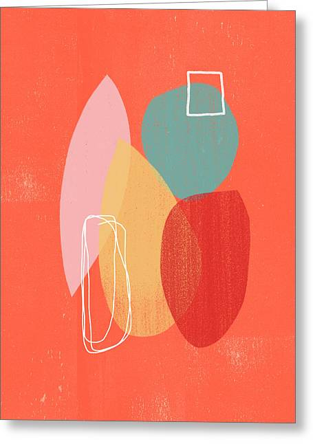 Coral Modern Abstract 1- Art By Linda Woods Greeting Card