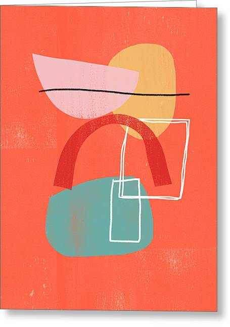 Coral Modern Abstract 2- Art By Linda Woods Greeting Card