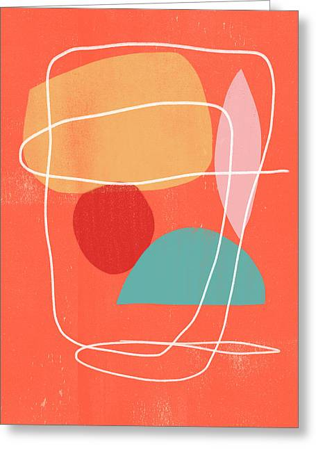 Coral Modern Abstract 3- Art By Linda Woods Greeting Card