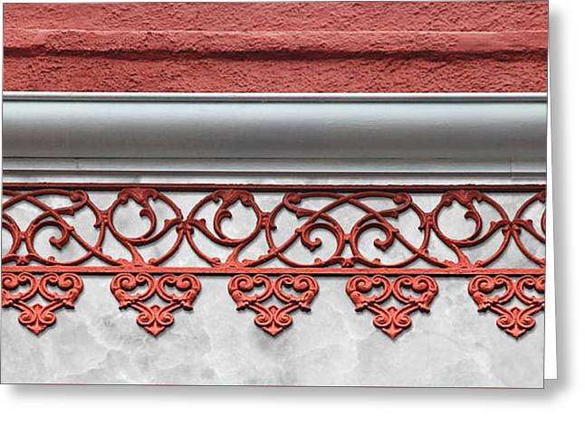 Coral Pink Wrought Iron Trim Greeting Card