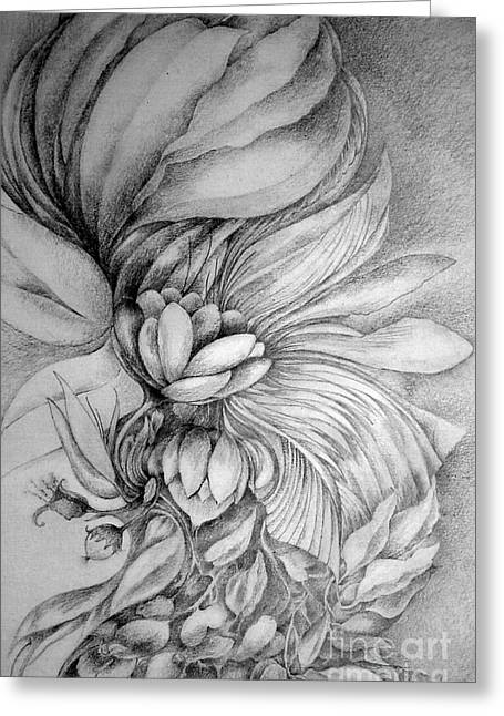 Greeting Card featuring the drawing Cornucopia by Rosanne Licciardi
