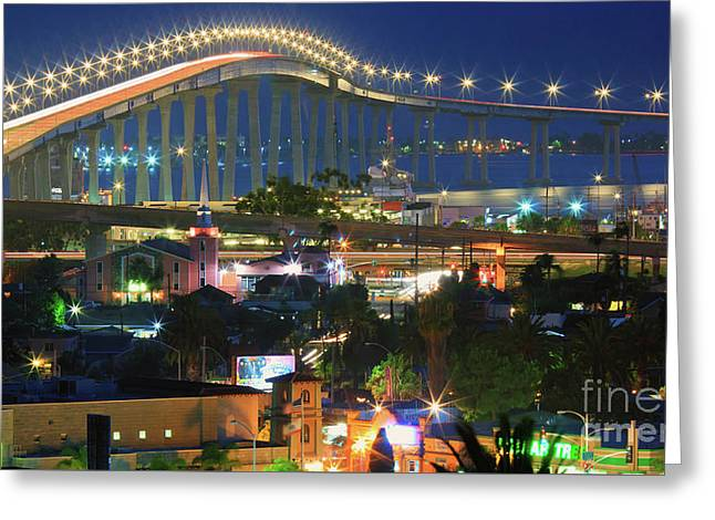 Coronado Bay Bridge Shines Brightly As An Iconic San Diego Landmark Greeting Card