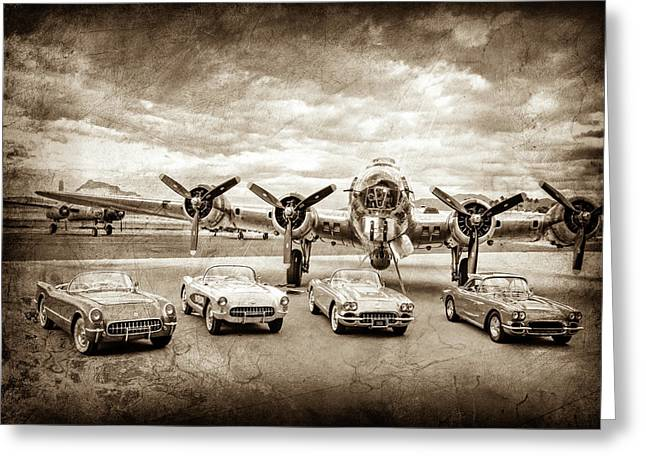 Corvettes And B17 Bomber -0027cl2 Greeting Card
