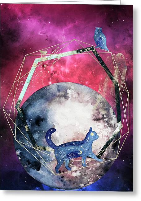 Greeting Card featuring the digital art Cosmic Portal by Bee-Bee Deigner