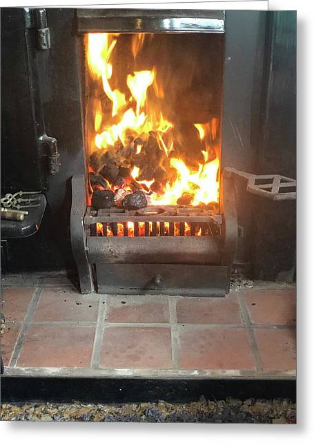 Cosy Winter Fire Greeting Card