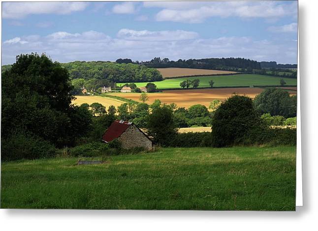 Greeting Card featuring the photograph Cotswold Field England 81601 by Rick Veldman