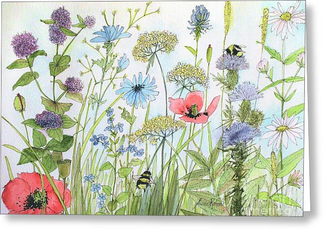 Cottage Flowers And Bees Greeting Card