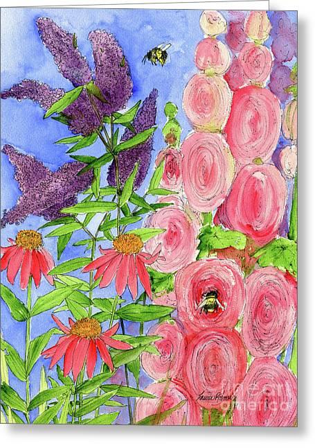 Cottage Garden Hollyhock Bees Blue Skie Greeting Card