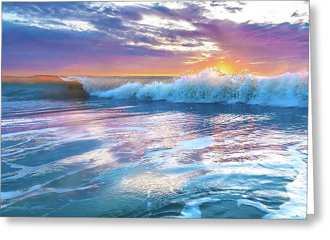 Cotton Candy Sunrise Surf Greeting Card