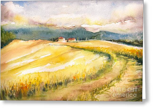 Country Landscape With Typical Tuscan Greeting Card