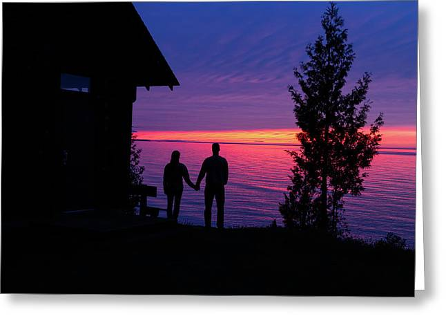 Greeting Card featuring the photograph Couple At Sunset by Paul Schultz