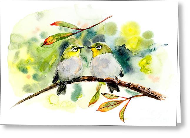 Couple Of Little Green Birdies Greeting Card
