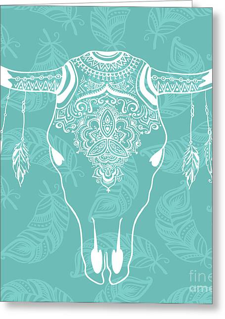 Cow Skull With Feathers Isolated On Greeting Card