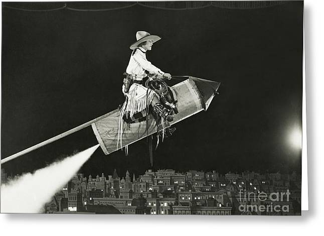 Cowgirl Takes Off On A Rocket Greeting Card
