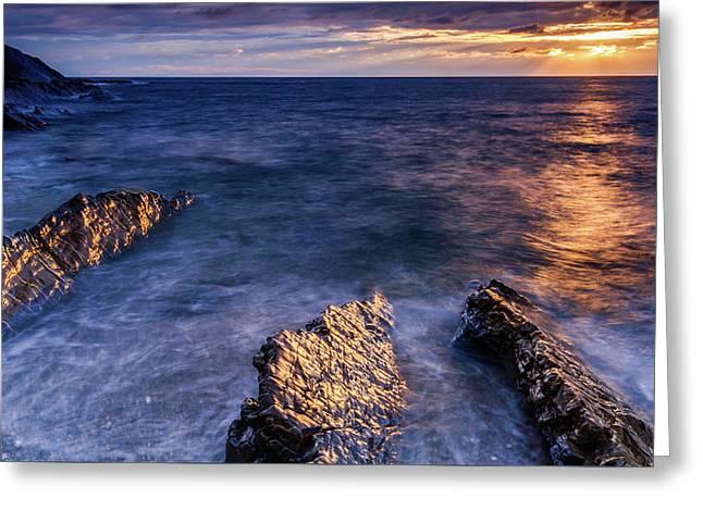 Crackington Haven Beach, Cornwall Greeting Card by David Ross