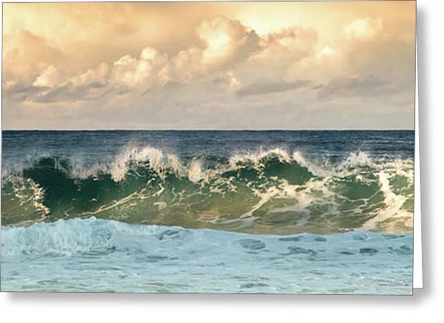 Crashing Waves And Cloudy Sky Greeting Card
