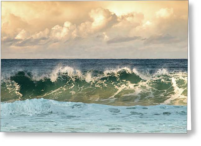 Crashing Waves And Cloudy Sky Greeting Card