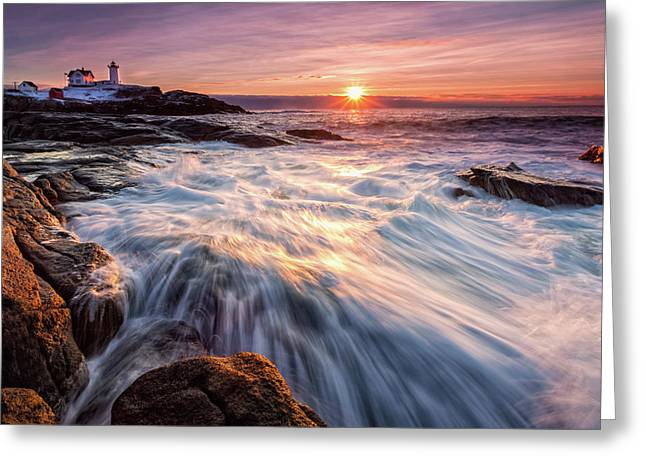 Crashing Waves At Sunrise, Nubble Light.  Greeting Card