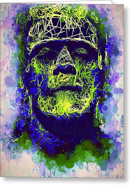 Greeting Card featuring the mixed media Frankenstein Watercolor by Al Matra