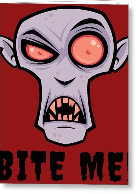 Creepy Vampire Cartoon With Bite Me Text Greeting Card