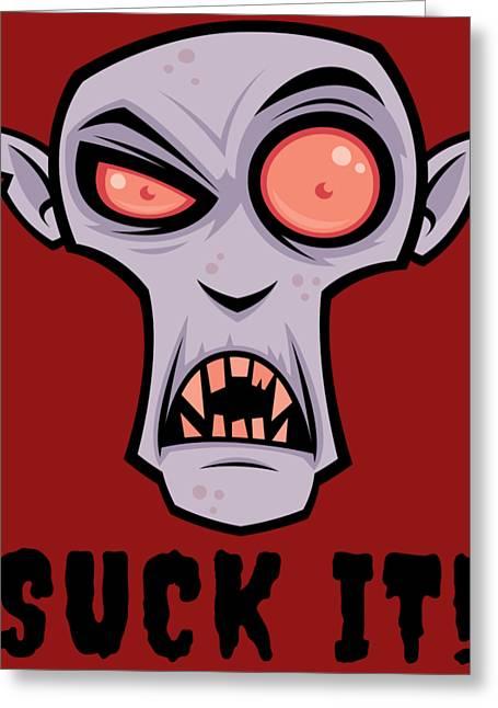 Creepy Vampire Cartoon With Suck It Text Greeting Card