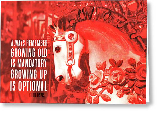 Greeting Card featuring the photograph Crimson Carousel Quote by JAMART Photography