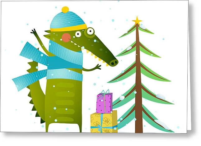 Crocodile Wearing Winter Warm Clothes Greeting Card