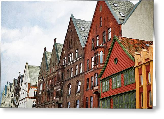Greeting Card featuring the photograph Crooked Buildings Of Bergen Norway In Europe by Whitney Leigh Carlson