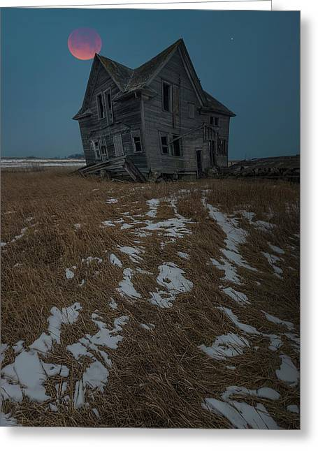 Greeting Card featuring the photograph Crooked Moon by Aaron J Groen