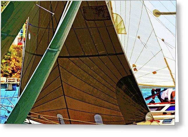 Crossing Sails Greeting Card