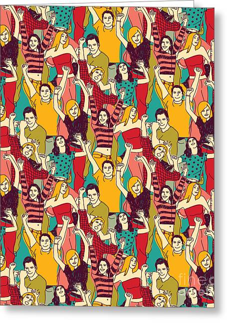 Crowd Active Happy People Seamless Greeting Card