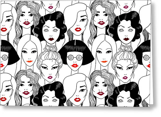 Crowd Of Women With Red Lips Seamless Greeting Card